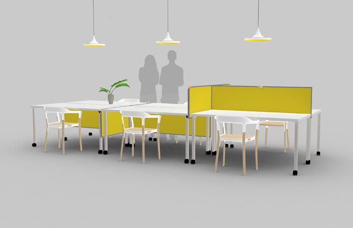 National Design Collective's Solomon retractable desk dividers can easily turn open workspaces into private ones.  Office by Alumnistore from Emerging Designers Dream Up Solutions for the 21st-Century Office