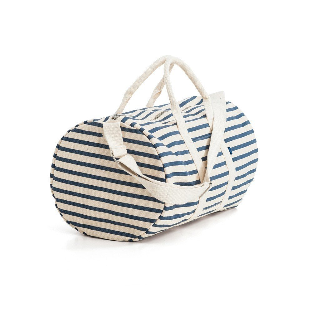 """Designed with weekend trips in mind, the Baggu Duffel Bag has a classic silhouette made in heavyweight canvas to create a durable and sturdy bag. Available in solid black and striped versions, this unisex bag is an ideal gift for a friend or family member who likes to jet off at a moment's notice.  Search """"events-this-weekend-318-21.html"""" from Gifts from the Dwell Store: For the Jet Setter"""