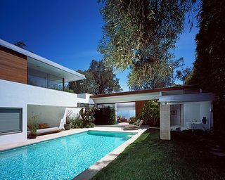 """A Neutra Renovation in Los Angeles - Photo 4 of 6 - The addition references the main house in materiality and function. """"We did not want to simply copy the existing elements, so we explored and investigated different levels of faithfulness to the existing structure, from a very near emulation to a much more contemporary approach that would only quote the previous architecture in some key aspects,"""" Grueneisen says."""