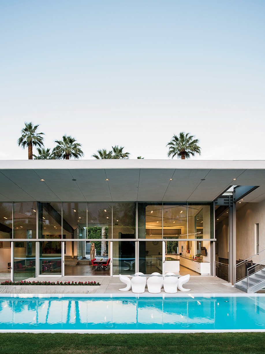 """We didn't want just flat stucco for this house."" — Catherine Holliss, designer  Photo 11 of 12 in An Energy-Efficient Hybrid Prefab Keeps Cool in the Palm Springs Desert"
