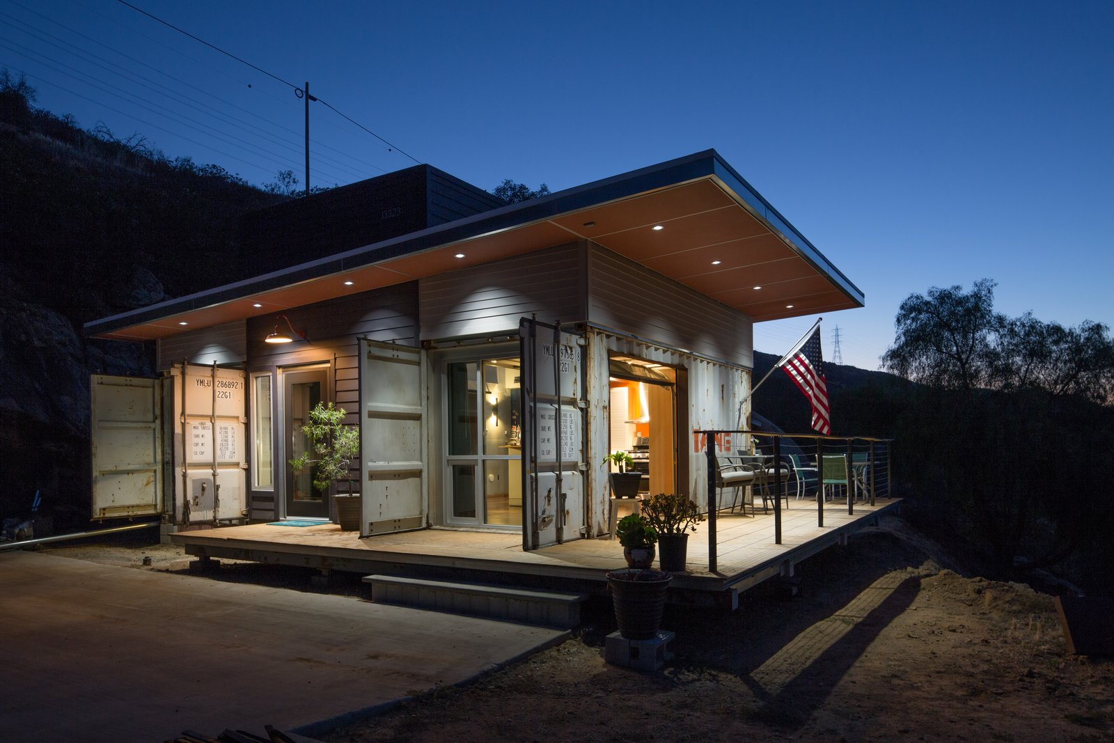 Mike McConkey, a superintendent for a general contractor, tasked Chris Bittner of OBR Architecture with designing an environmentally sensitive home for he and his wife in San Diego County. Utilizing three shipping containers and a bevy of cost-effective appliances, they managed to limit the budget to $160,000. Tagged: Exterior, House, Metal Siding Material, and Flat RoofLine.  Shipping Container by Philip Slawson from Modern Homes In and Around San Diego