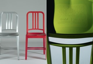 An original Navy aluminum chair stands beside the 111 plastic version, made entirely of recycled Coca-Cola bottles.