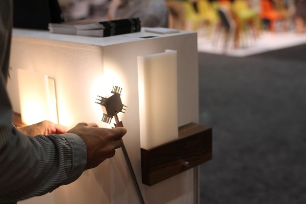 Laguna Beach–based Cerno demonstrates their wall sconce/reading lamp combo.