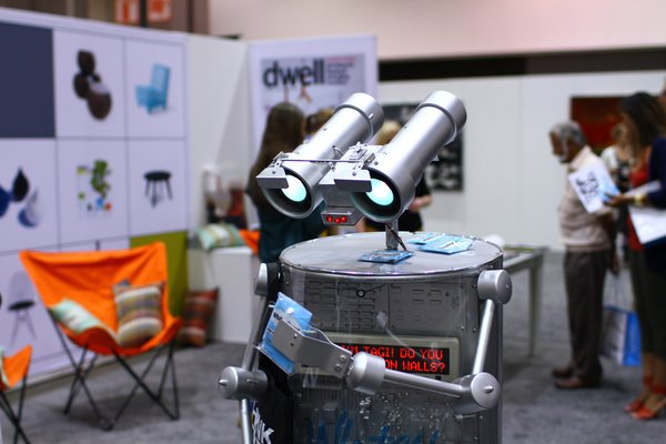 The roving robot from Whiteyboard, a maker of paint you can draw on with whiteboard pens—a less dusty option to chalkboard-paint walls.