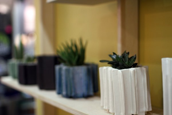 The Extrusion pieces are built by hand and run about $75. Find them on bkbceramics.com.
