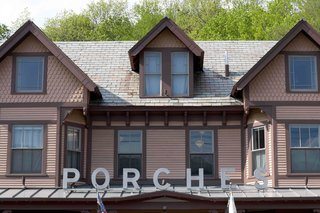 Porches Inn, North Adams, Massachusetts - Photo 3 of 21 - Located on the site of renovated mill worker's quarters, Porches still retains its aura of down-to-earth livability even as it houses some of the world's most impressive artists. Consisting of six multi-hued 1890's Victorian row houses, its two connecting porches give the illusion of one extremely long vacation cabin.<br><br>Designed by Nancy Fitzpatrick (the mastermind behind the newly revamped <br><br>Red Lion Inn in Stockbridge, Massachusetts) and her design team, Porches is situated directly in heart of the Berkshires, 2.5 hours from Boston and 3.5 hours from New York City.