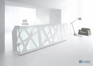 The Zig-Zag desk with a classic white light for brightening up dim offices.