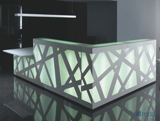 The desk can be lit in 15 different colors, plus white.