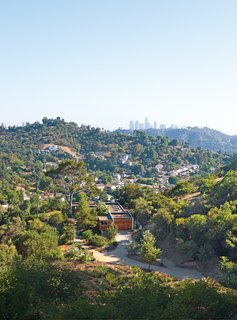 L-Shaped Indoor-Outdoor LA Home - Photo 5 of 21 - Laura Gabbert and Andrew Avery's home in the hills of Glassell Park, Los Angeles, is clad in stucco and redwood, evoking the rustic charm of their lush seven-acre site.