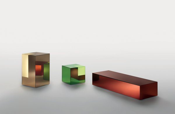 """Boxy, for Glas Italia, 2011<br><br>Glas Italia """"has this amazing possibility to make a mirror out of any color of glass,"""" says Grawunder. Using that material as a starting point, Grawunder turned the mirrors into boxes and then sanded off their silver backing at the corners, allowing light to emanate from the colored glass. She envisions these """"hybrid objects""""—a combination of light-table-storage—to be used as mini bars or bedside tables that hold books."""