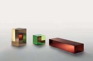 "Boxy, for Glas Italia, 2011<br><br>Glas Italia ""has this amazing possibility to make a mirror out of any color of glass,"" says Grawunder. Using that material as a starting point, Grawunder turned the mirrors into boxes and then sanded off their silver backing at the corners, allowing light to emanate from the colored glass. She envisions these ""hybrid objects""—a combination of light-table-storage—to be used as mini bars or bedside tables that hold books."