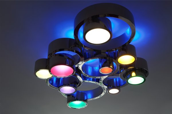 Circle Light, Private Collection, 2011<br><br>For a commission for the Parisian jewelry designer Lorenz Baumer, Grawunder was inspired by one of the rings she had seen on his website. Concentric stainless steel rings combine with colored plexiglass and LED lights that change color to create one of Grawunder's more decorative pieces.