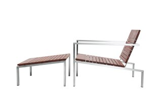 Sunken Outdoor Fire Pit - Photo 2 of 2 - Edwin Blue's Rise lounge chair and ottoman are made from FSC-certified machiche and polished stainless steel.