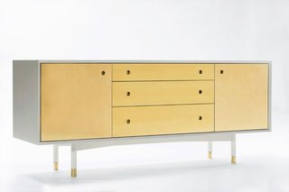 "This brass credenza ($7,600) is one of the collective's first pieces. The warm metal has seen a surge in popularity, especially this year as designers experimented with ways to make modern design feel fresh.<br><br>""We looked at a lot of modernism and a lot of postmodernism during our education. Our teachers armed us with the ability to design clean, simple, functional objects and we still intend to do so; however, like previous generations of designers, we are beginning to find our own voice for our own time,"" says Ellis."