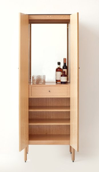 The cabinet opens to reveal a bar station. For teetotalers—or those lacking closet space—there's also an armoire version of the cabinet. For more information, visit Egg Collective's website.