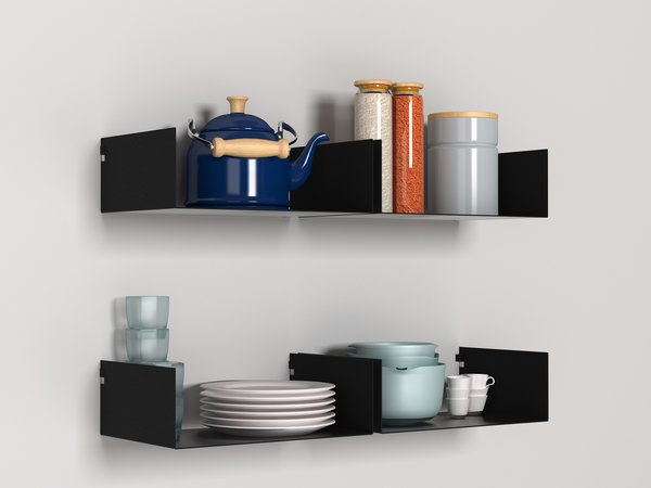 The Moni shelves can be installed in a variety of rooms, here as a perch for kitchenware. Individual units range from 29.75€ to 33.75€.