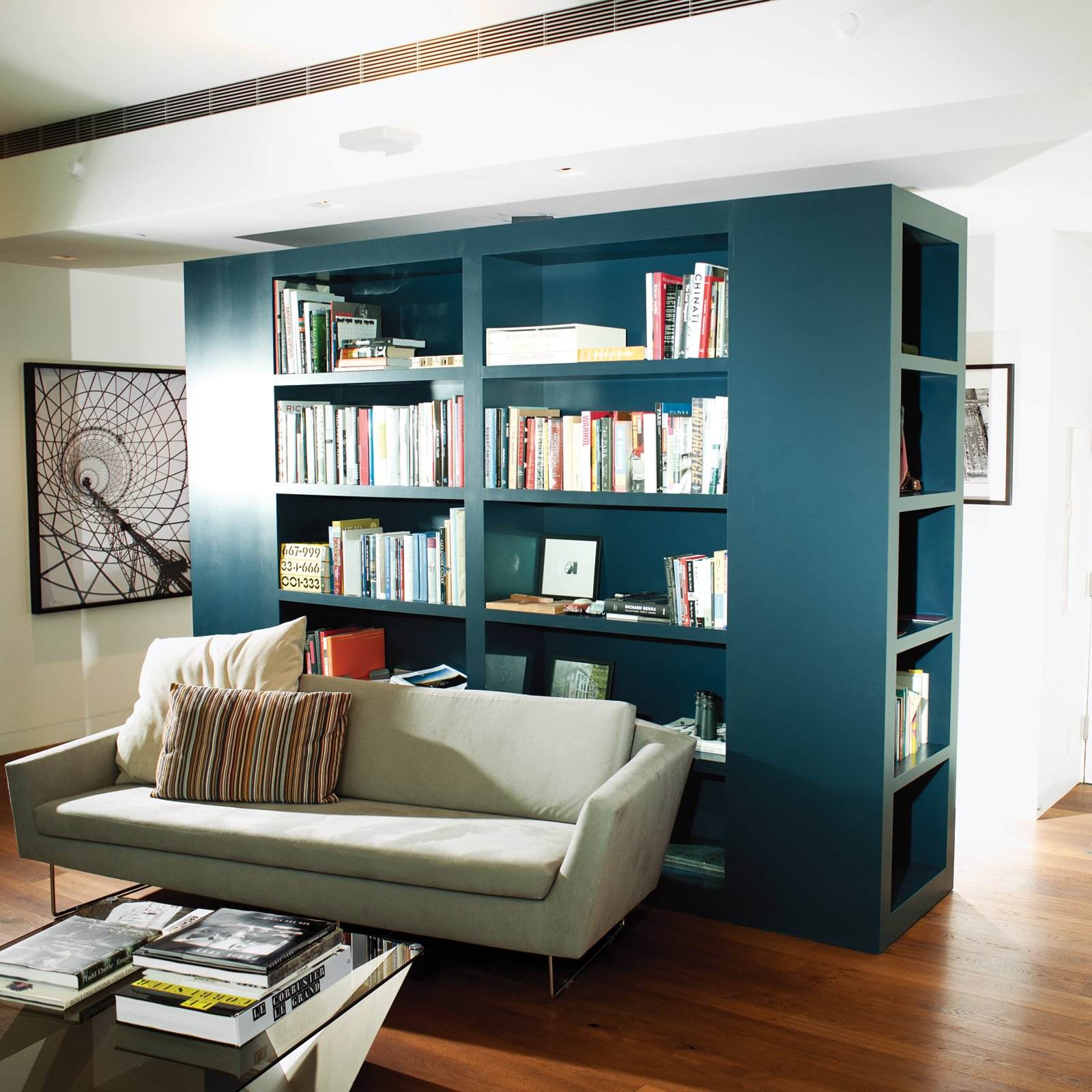 Calder Smith created the custom bookcase to delineate the seating area and the entrance hallway.  Storage by Dwell from High-Rise Living in Manhattan