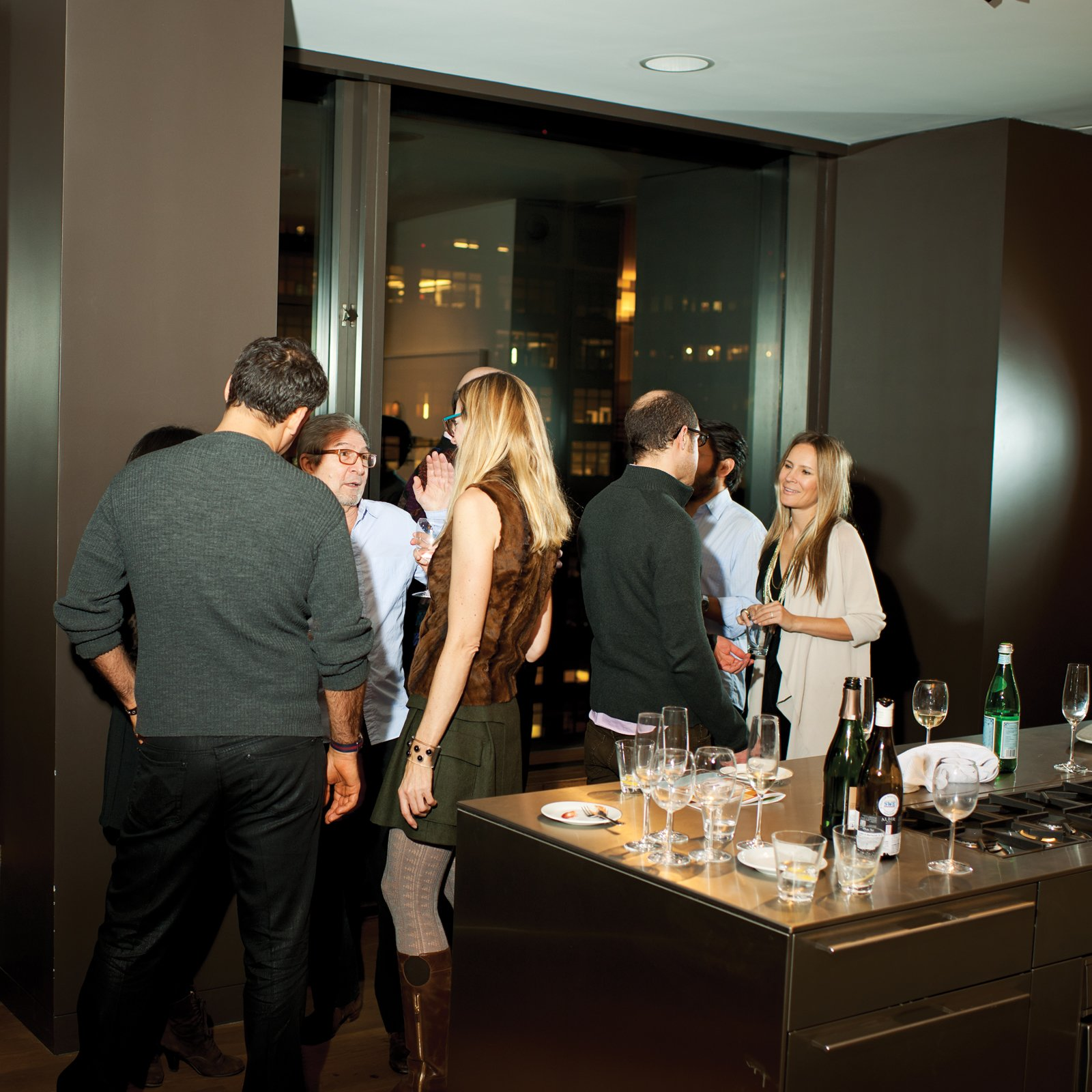 For a recent cocktail party, Calder Smith served white and red wine in Alessi glassware. Thad Vogler, of Bar Agricole in San Francisco, devised a custom cocktail served in tumblers from Spieglau.  Photo 9 of 14 in High-Rise Living in Manhattan