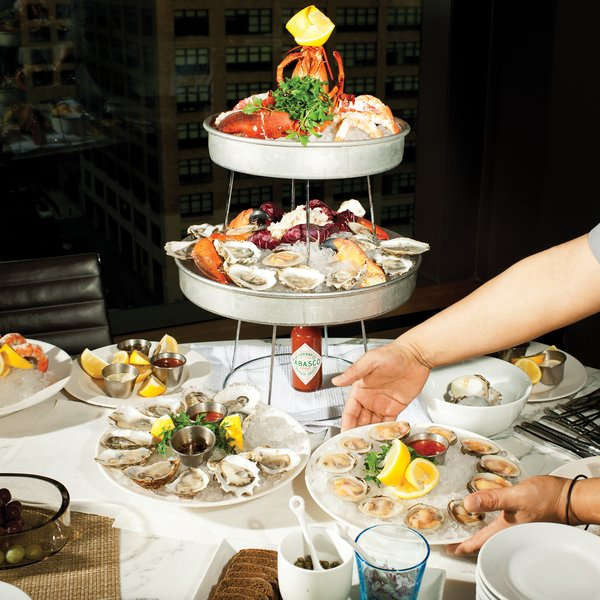 DeLuca's seafood tower delivered straight from his restaurant Giorgione on Spring Street.