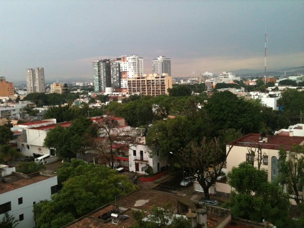 The Guadalajara skyline from the fourth floor of the hotel. Throughout the city, especially Hotel Demetria's neighborhood, Lafayette, remnants of European colonialism are present and integrated into modern Mexican society.