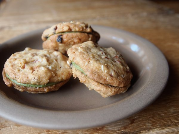 Although not available online, these cookies with a matcha tea filling will be available in the cafe space.