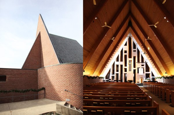 Exterior and interior of Harry Weese's First Baptist Church in Columbus, Indiana. Photo by Leslie Williamson.