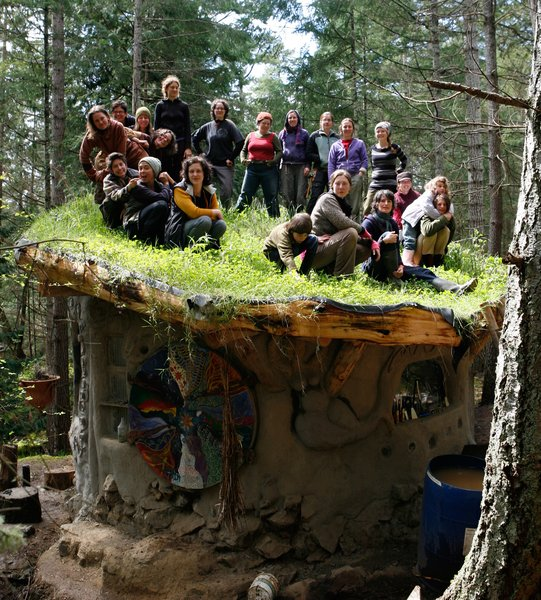 The MudGirls Collective (circa 2005) on Jen Gobby's living roof. Photo courtesy of Jen Gobby.