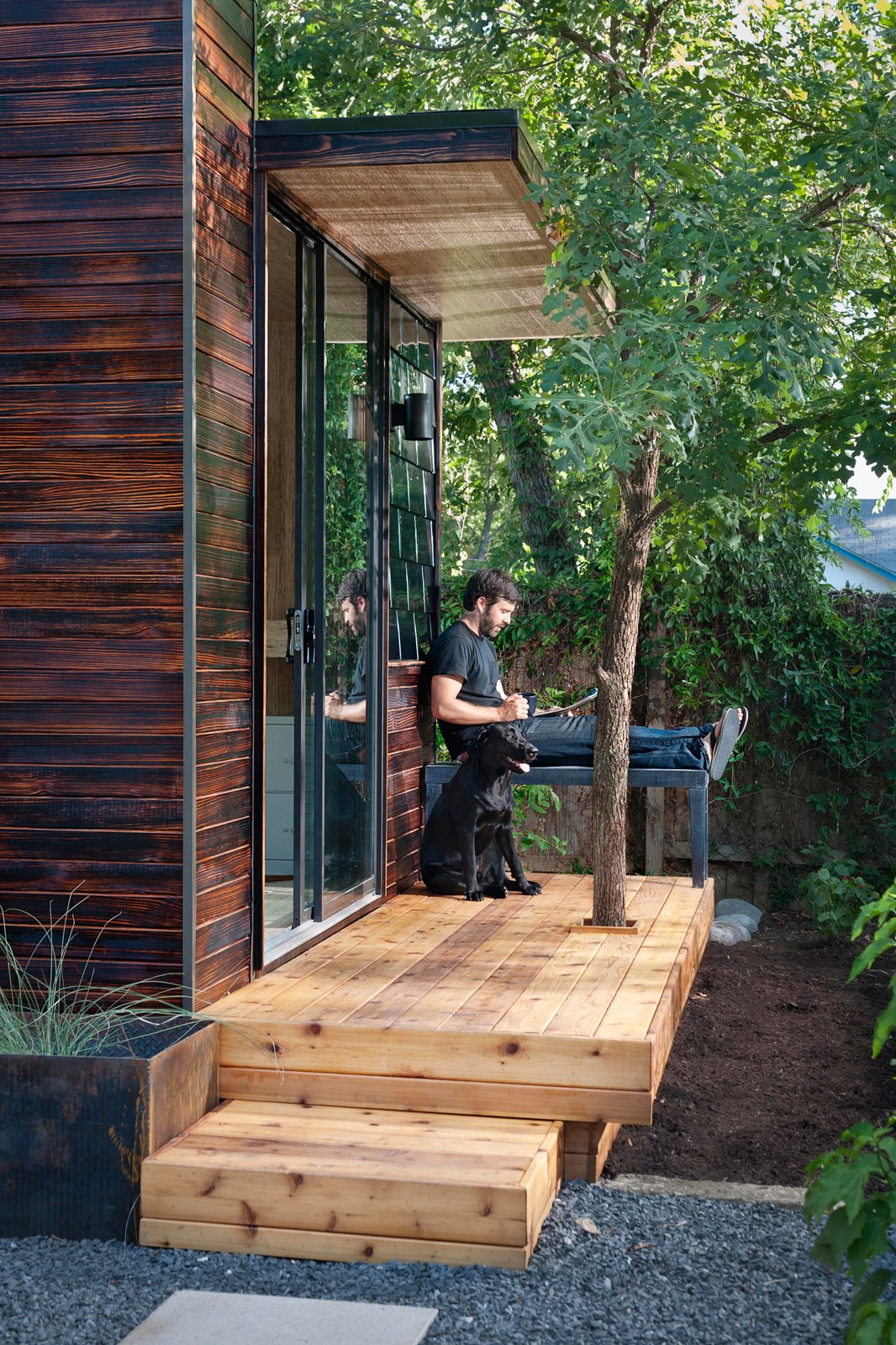 Studio owner Joey Williams uses his space to work from home as an Austin-based media director. Prefab by Laurie Vanderboom