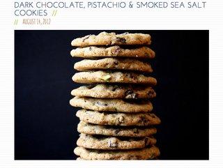 Joy the Baker's Dark Chocolate, Pistachio, and Smoked Sea Salt Cookies.