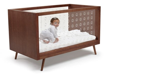 The Nifty Clear Collection which combines the clean lines of the mid-century aesthetic with  Ubabub's innovative clear acrylic sides, providing visibility for parents, easy assembly and converts to a junior bed. Photo from Ubabub.