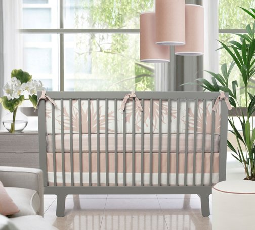 Modern parents who want to include pink into their nursery design will love the new blush colored bedding from Olio, which evokes the sweetness of a baby, but is still updated and modern. Photo from Olio.