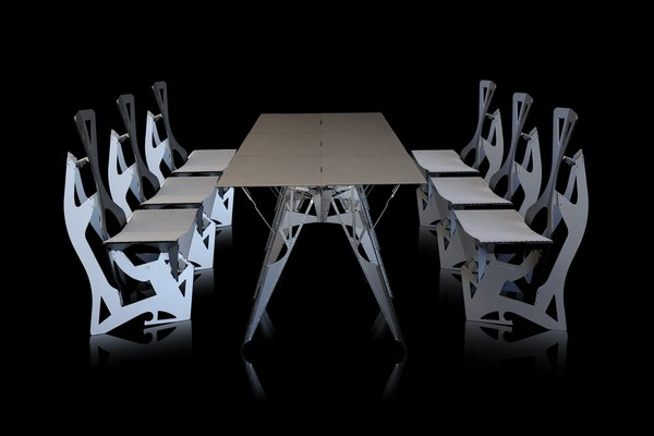 Table and chairs by Folditure.