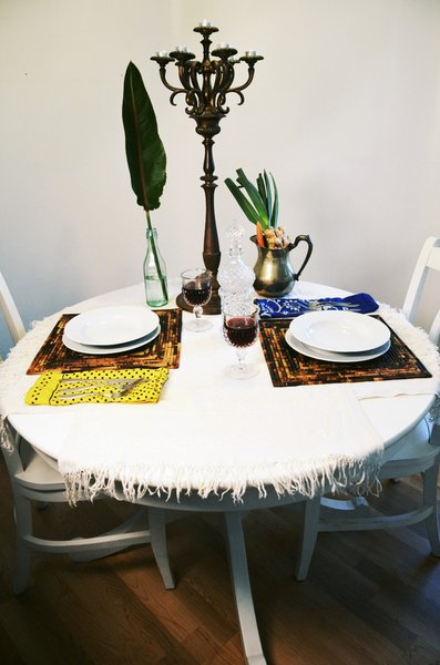 A simple table can still look interesting with unexpected elements.