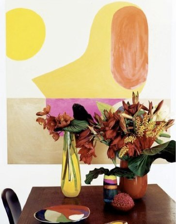 "Known for hosting entertaining gatherings in their beachside home overflowing with exotic flowers, Ormandy and Olsen—an off-work couple as well—make gorgeous vases.<br><br>""We love the relationship between the humanness of the forms we create and the very modern material that we use—resin,"" says Ormandy (who also created the abstract painting in the background). ""We see ourselves as artisans and embody the Japanese philosophy of <br><br>wabi-sabi where there's perfection in the imperfections. When you think of plastics you think of the mass produced, but what we do isn't like that. Each piece is handmade and designed with the intention of being cherished for a lifetime."""