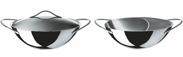 Wok with Lid, $370, part of Alessi's Domenica serving cookware collection by Elisa Giovannoni.