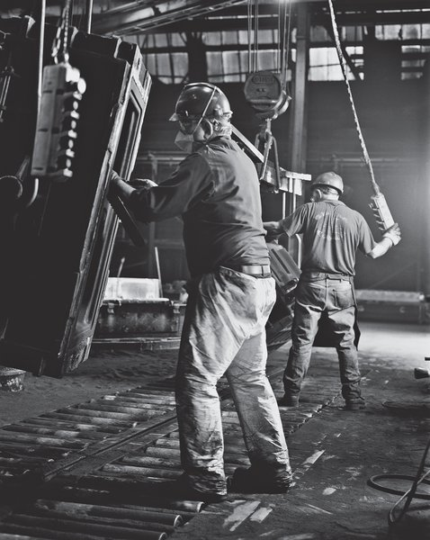 Workers in the foundry manufacturing center at Kohler headquarters in Wisconsin start on the first step in the cast-iron process. Photo courtesy Kohler Company.