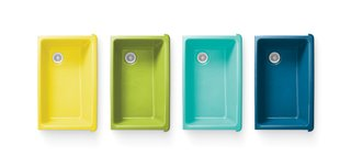 The company's collaboration with designer Jonathan Adler yielded four new hues to its range of enameled cast-iron sinks, adding yellow, green, turquoise, and bright blue to its existing collection of 24 colors. Photo courtesy Kohler Company.