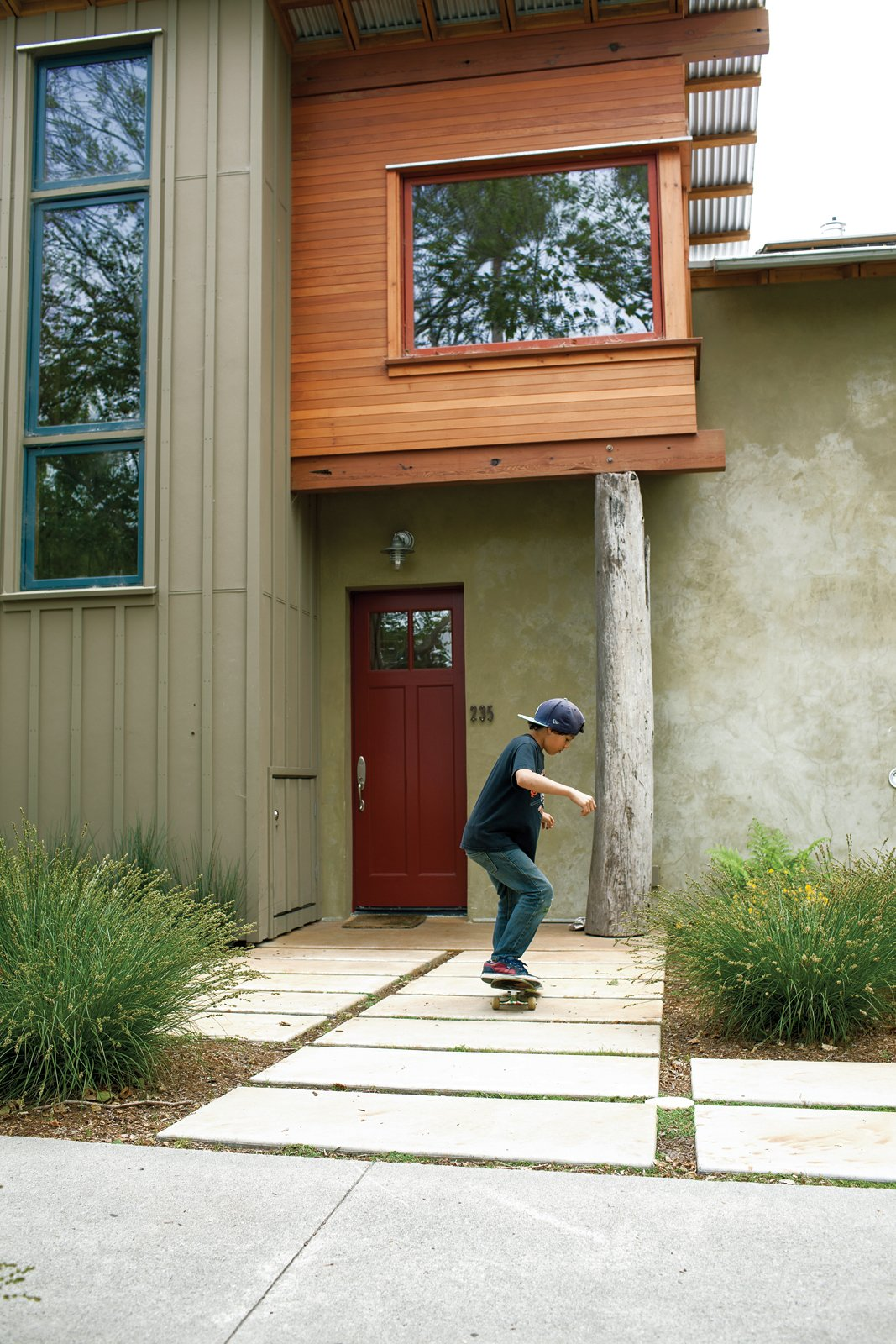 Tagged: Outdoor, Shrubs, and Pavers Patio, Porch, Deck.  Photo 5 of 8 in Green Zero-Energy Family Home in Santa Cruz