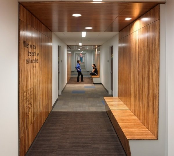 Another sustainable attribute in Greiner Hall, a dorm that houses up to 600 sophomores on campus, are the Plyboo walls throughout.
