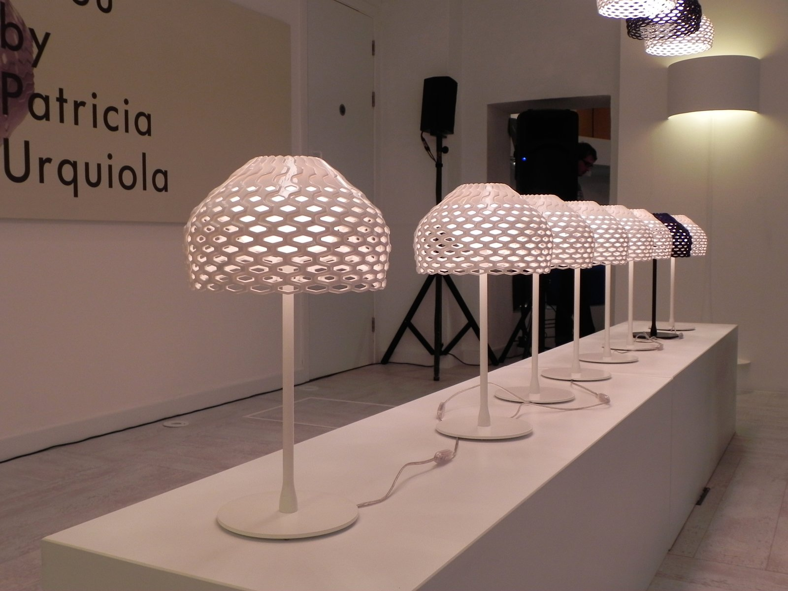 The Flos showroom in Clerkenwell launched Spanish designer Patricia Urquiola's Tatou lamp. Tatou, meaning Armadillo in French, is made from four methacrylate sheets that combine to make the perforated, dome-shaped shade.  London Design Festival 2012 by Ali Morris