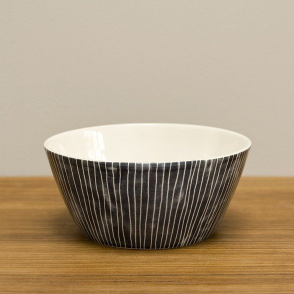 Earthenware Pinstripe bowl from the U.K. ($28).