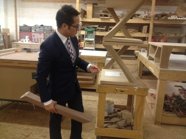 Luxury furniture brand Hellman Chang is well known around the borough of Brooklyn and beyond. Here, Eric Chang presents a soon-to-be polished Z table. Each leg of the table is shaped by hand in Brooklyn, resulting in an arresting sculptural piece.