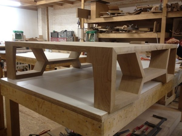 Here's a coffee table mid-production. Each Hellman Chang piece is numbered and tracked by the company, making it easy to match future pieces for clients.