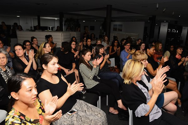 A sold-out crowd engaging in a pre-presidential debate debate about women in architecture.