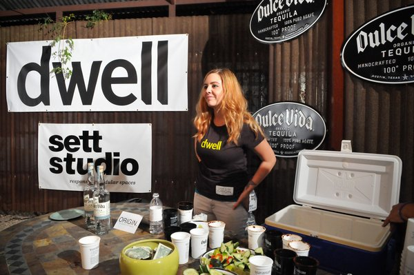 Bartender Elisabeth Champagne serves organic margaritas and muddled jalapeno-cucumber cocktails to thirsty guests.