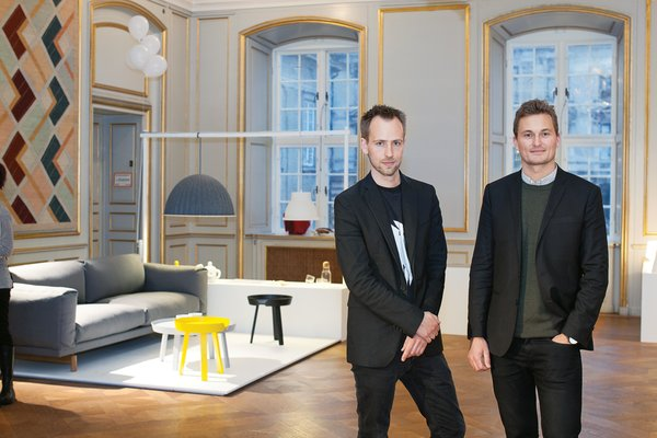 Muuto's Peter Bonnen and Kristian Byrge at last year's Designmuseum Danmark exhibition celebrating the company's five-year anniversary.