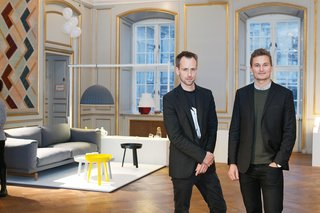 Scandinavian Design Focus: Muuto - Photo 2 of 9 - Muuto's Peter Bonnen and Kristian Byrge at last year's Designmuseum Danmark exhibition celebrating the company's five-year anniversary.