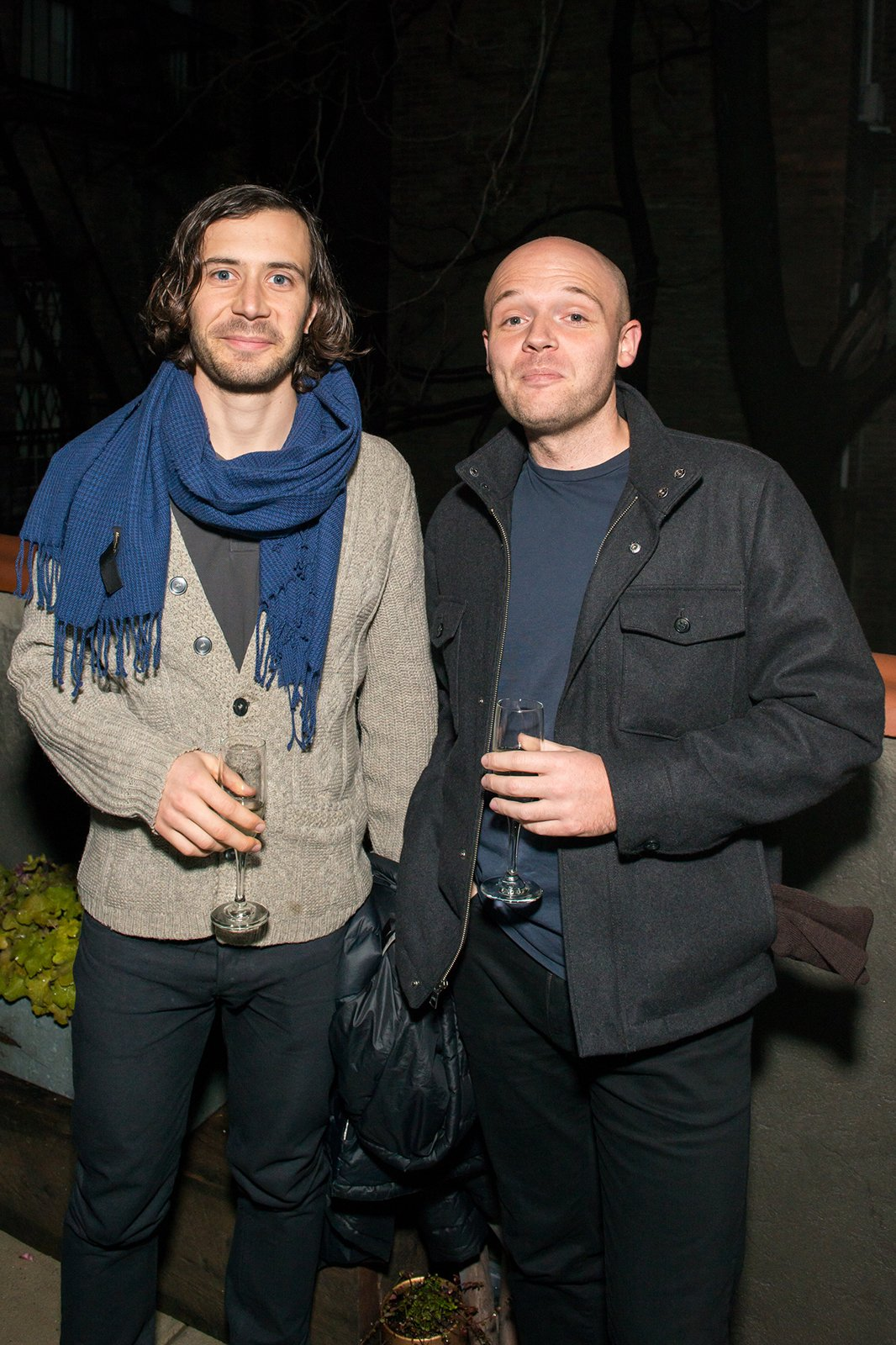"Theo Richardson and Alexander Williams of Rich, Brilliant, Willing enjoyed the unseasonably warm weather on the 2nd floor terrace.  Search ""events-this-weekend-318-21.html"" from Dwell & DDG Holiday Party at 345meatpacking"