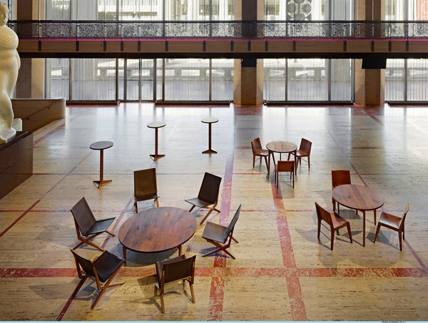 The Promenade of the David H. Koch Theater featuring seating collection designed by Asher Israelow. Photo by Frank Oudeman.