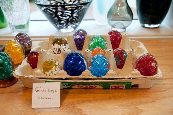 Decorative eggs at Hudson Beach Glass.